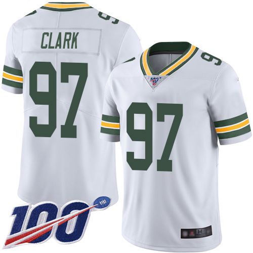 Green Bay Packers Limited White Men 97 Clark Kenny Road Jersey Nike NFL 100th Season Vapor Untouchable
