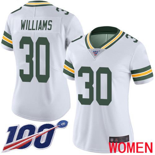 Green Bay Packers Limited White Women 30 Williams Jamaal Road Jersey Nike NFL 100th Season Vapor Untouchable