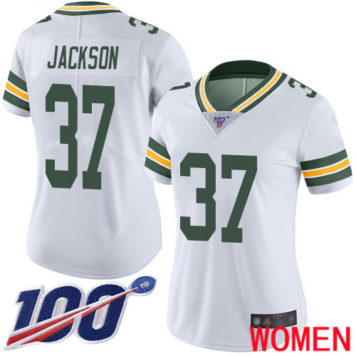 Green Bay Packers Limited White Women 37 Jackson Josh Road Jersey Nike NFL 100th Season Vapor Untouchable