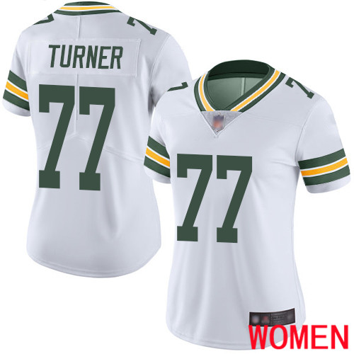 Green Bay Packers Limited White Women 77 Turner Billy Road Jersey Nike NFL Vapor Untouchable