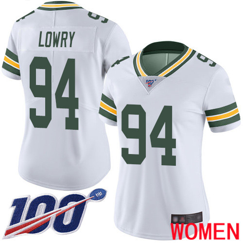 Green Bay Packers Limited White Women 94 Lowry Dean Road Jersey Nike NFL 100th Season Vapor Untouchable