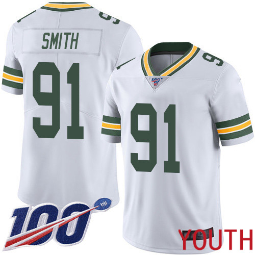 Green Bay Packers Limited White Youth 91 Smith Preston Road Jersey Nike NFL 100th Season Vapor Untouchable