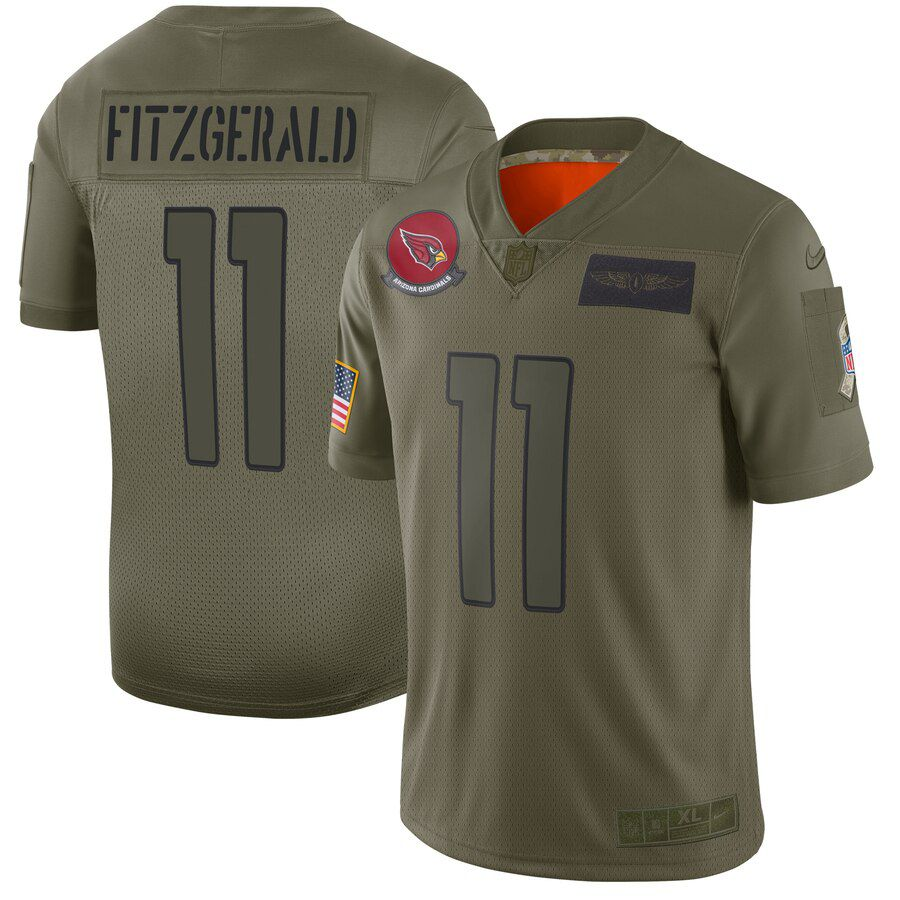 Men Arizona Cardinals 11 Fitzgerald Green Nike Olive Salute To Service Limited NFL Jerseys