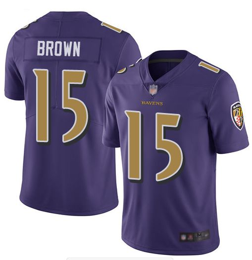 Men Baltimore Ravens 15 Brown Purple Nike Color Rush Limited NFL Jerseys