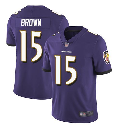 Men Baltimore Ravens 15 Brown Purple Nike Vapor Untouchable Limited NFL Jerseys