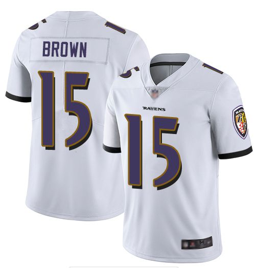 Men Baltimore Ravens 15 Brown White Nike Vapor Untouchable Limited NFL Jerseys