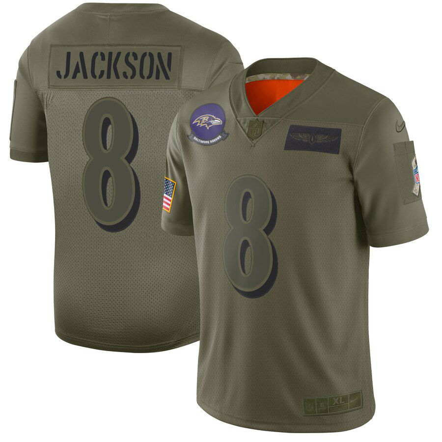 Men Baltimore Ravens 8 Jackson Green Nike Olive Salute To Service Limited NFL Jerseys
