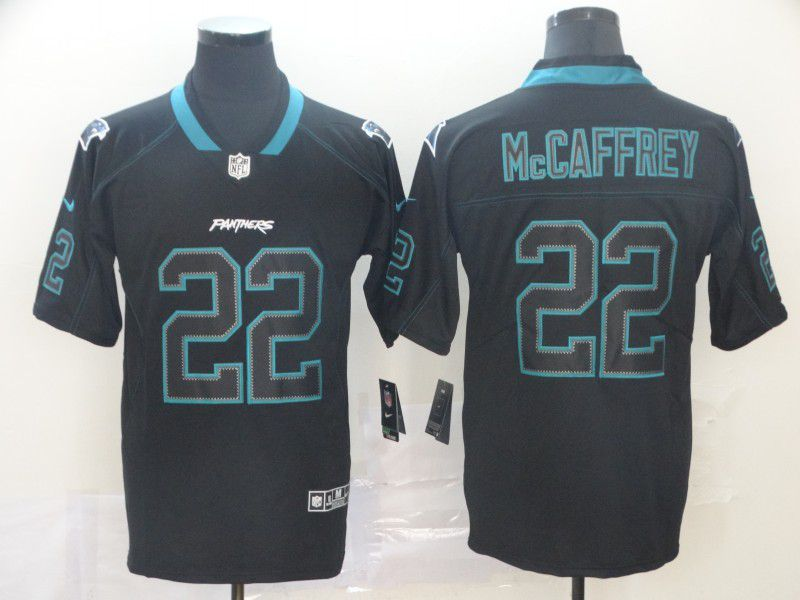 Men Carolina Panthers 22 Mccaffrey Nike Lights Out Black Color Rush Limited NFL Jerseys