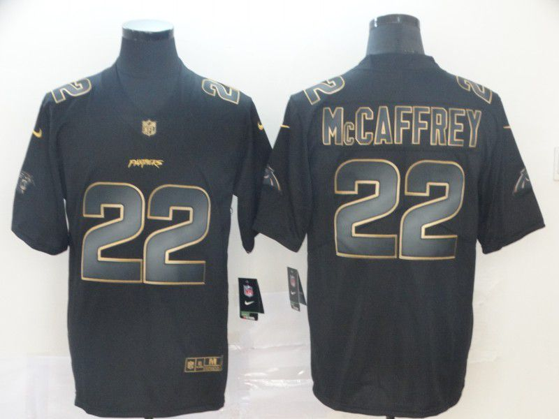 Men Carolina Panthers 22 Mccaffrey Nike Vapor Limited Black Golden NFL Jerseys