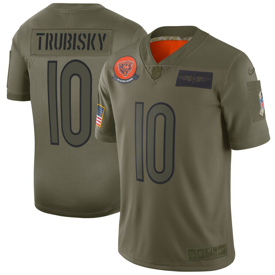 Men Chicago Bears 10 Trubisky Green Nike Olive Salute To Service Limited NFL Jerseys