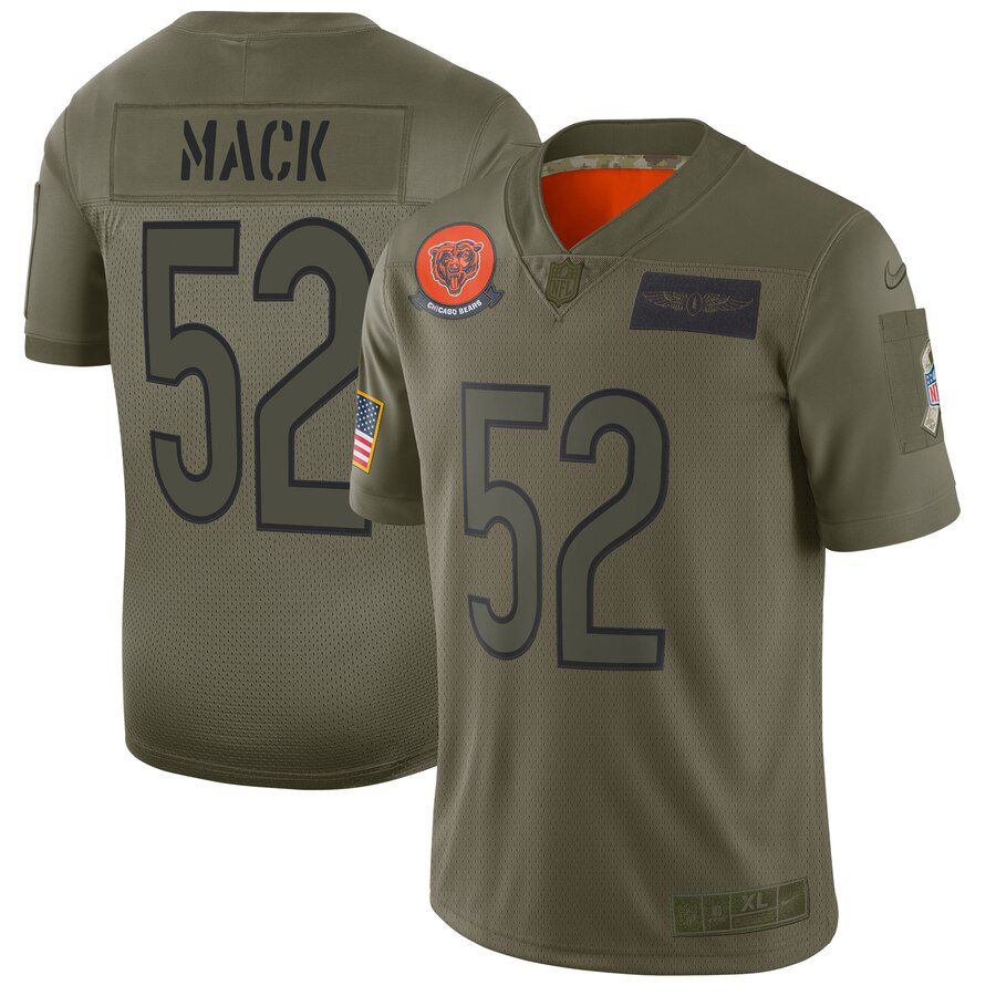 Men Chicago Bears 52 Mack Green Nike Olive Salute To Service Limited NFL Jerseys