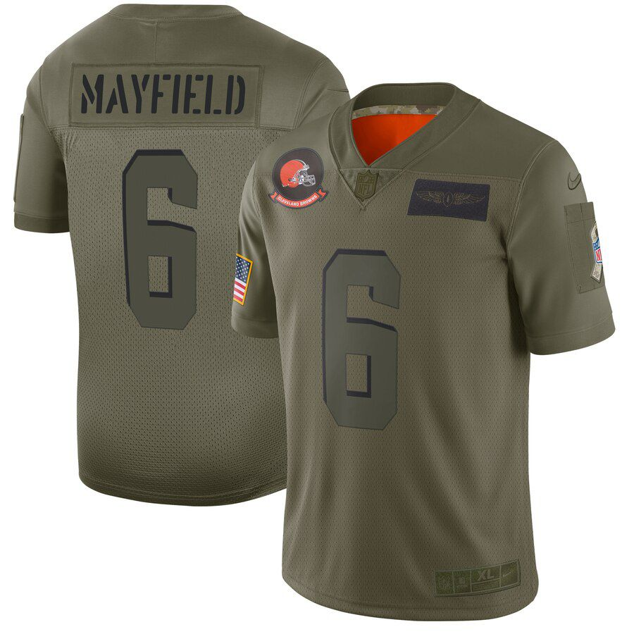 Men Cleveland Browns 6 Mayfield Green Nike Olive Salute To Service Limited NFL Jerseys