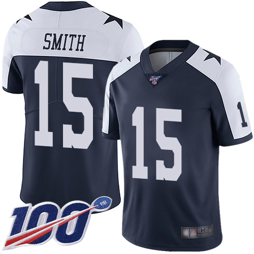 Men Dallas Cowboys Limited Navy Blue Devin Smith Alternate 15 100th Season Vapor Untouchable Throwback NFL Jersey
