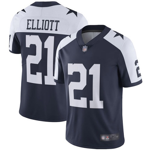 Men Dallas Cowboys Limited Navy Blue Ezekiel Elliott Alternate 21 Vapor Untouchable Throwback NFL Jersey