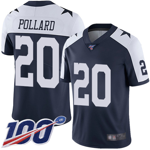 Men Dallas Cowboys Limited Navy Blue Tony Pollard Alternate 20 100th Season Vapor Untouchable Throwback NFL Jersey