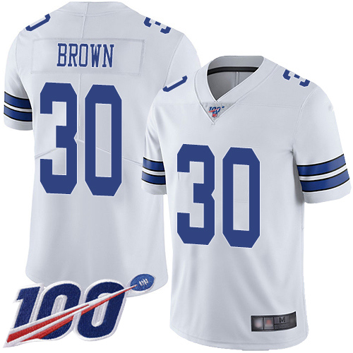 Men Dallas Cowboys Limited White Anthony Brown Road 30 100th Season Vapor Untouchable NFL Jersey