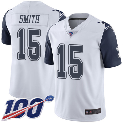 Men Dallas Cowboys Limited White Devin Smith 15 100th Season Rush Vapor Untouchable NFL Jersey