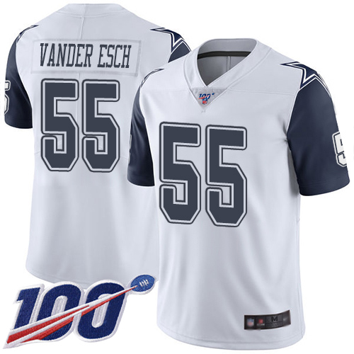 Men Dallas Cowboys Limited White Leighton Vander Esch 55 100th Season Rush Vapor Untouchable NFL Jersey