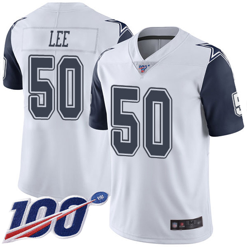 Men Dallas Cowboys Limited White Sean Lee 50 100th Season Rush Vapor Untouchable NFL Jersey