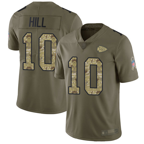 Men Kansas City Chiefs 10 Hill Tyreek Limited Olive Camo 2017 Salute to Service Football Nike NFL Jersey