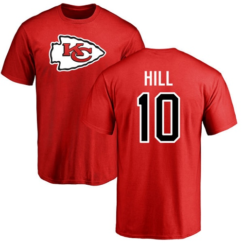 Men Kansas City Chiefs 10 Hill Tyreek Red Name and Number Logo T-Shirt