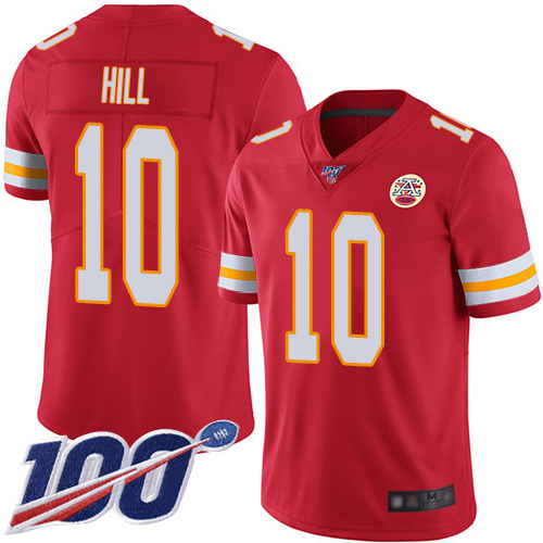 Men Kansas City Chiefs 10 Hill Tyreek Red Team Color Vapor Untouchable Limited Player 100th Season Football Nike NFL Jersey