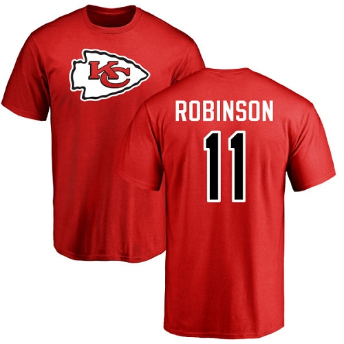 Men Kansas City Chiefs 11 Robinson Demarcus Red Name and Number Logo T-Shirt