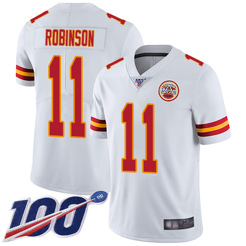 Men Kansas City Chiefs 11 Robinson Demarcus White Vapor Untouchable Limited Player 100th Season Football Nike NFL Jersey