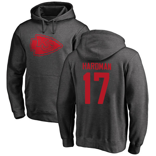 Men Kansas City Chiefs 17 Hardman Mecole Ash One Color Pullover Hoodie