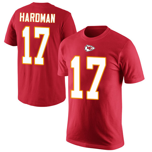 Men Kansas City Chiefs 17 Hardman Mecole Red Rush Pride Name and Number T-Shirt