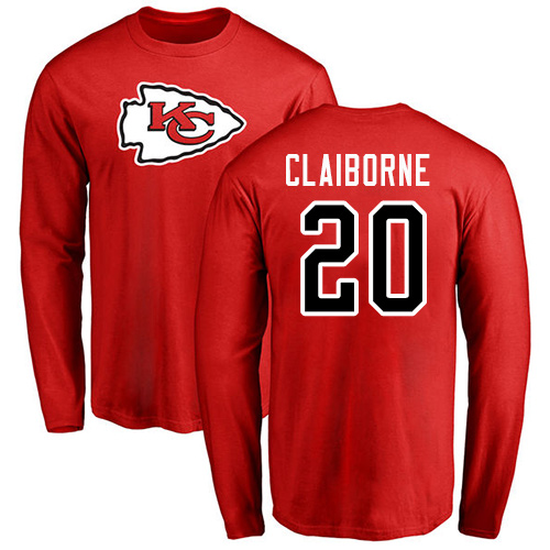 Men Kansas City Chiefs 20 Claiborne Morris Red Name and Number Logo Long Sleeve T-Shirt