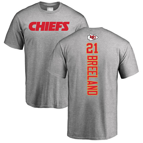 Men Kansas City Chiefs 21 Breeland Bashaud Ash Backer T-Shirt