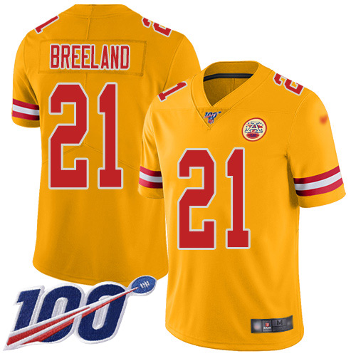 Men Kansas City Chiefs 21 Breeland Bashaud Limited Gold Inverted Legend 100th Season Football Nike NFL Jersey