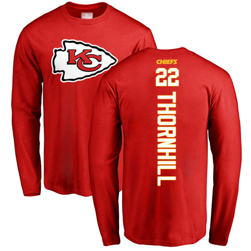 Men Kansas City Chiefs 22 Thornhill Juan Red Backer Long Sleeve T-Shirt