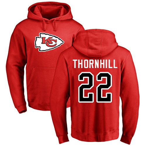 Men Kansas City Chiefs 22 Thornhill Juan Red Name and Number Logo Pullover Hoodie