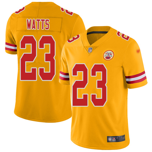 Men Kansas City Chiefs 23 Watts Armani Limited Gold Inverted Legend Football Nike NFL Jersey