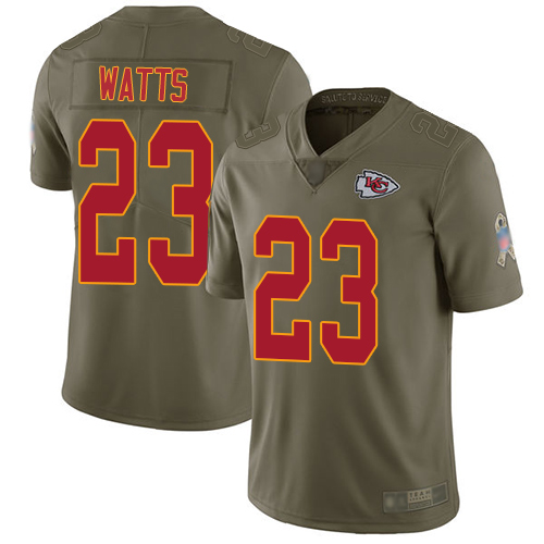 Men Kansas City Chiefs 23 Watts Armani Limited Olive 2017 Salute to Service Football Nike NFL Jersey