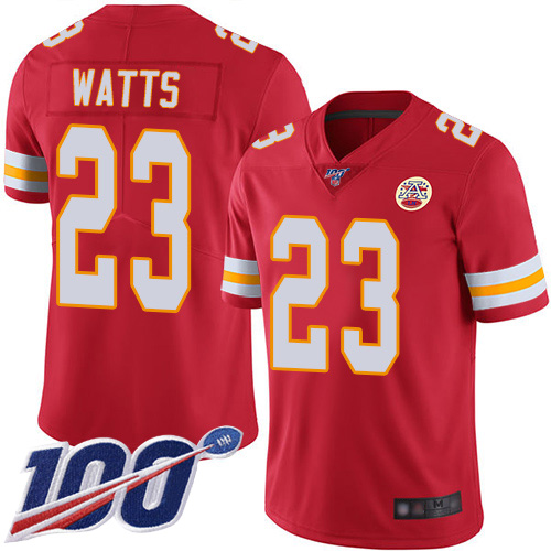 Men Kansas City Chiefs 23 Watts Armani Red Team Color Vapor Untouchable Limited Player 100th Season Football Nike NFL Jersey