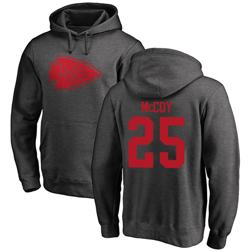 Men Kansas City Chiefs 25 McCoy LeSean Ash One Color Pullover Hoodie