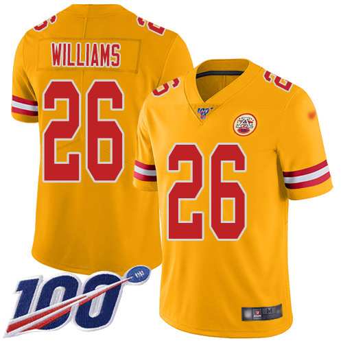 Men Kansas City Chiefs 26 Williams Damien Limited Gold Inverted Legend 100th Season Football Nike NFL Jersey