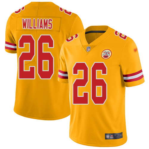 Men Kansas City Chiefs 26 Williams Damien Limited Gold Inverted Legend Football Nike NFL Jersey