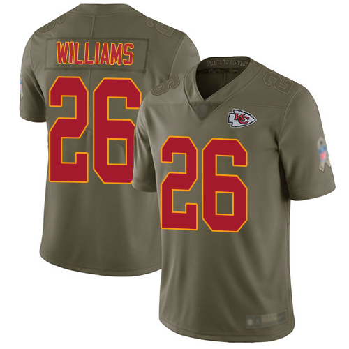 Men Kansas City Chiefs 26 Williams Damien Limited Olive 2017 Salute to Service Football Nike NFL Jersey