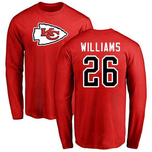 Men Kansas City Chiefs 26 Williams Damien Red Name and Number Logo Long Sleeve T-Shirt