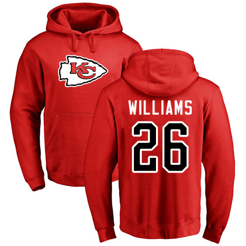 Men Kansas City Chiefs 26 Williams Damien Red Name and Number Logo Pullover Hoodie