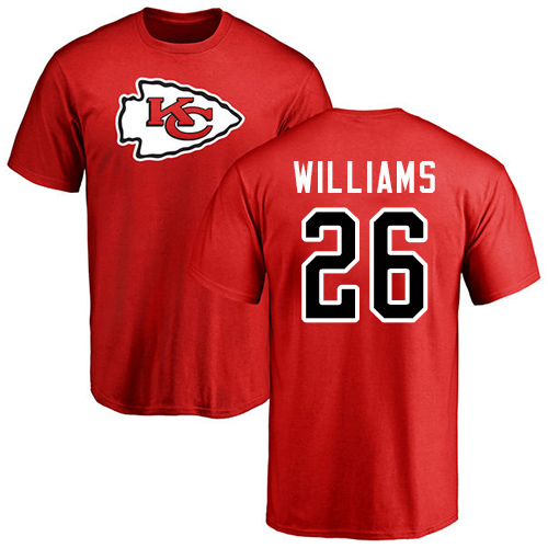 Men Kansas City Chiefs 26 Williams Damien Red Name and Number Logo T-Shirt