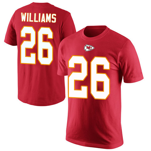 Men Kansas City Chiefs 26 Williams Damien Red Rush Pride Name and Number T-Shirt
