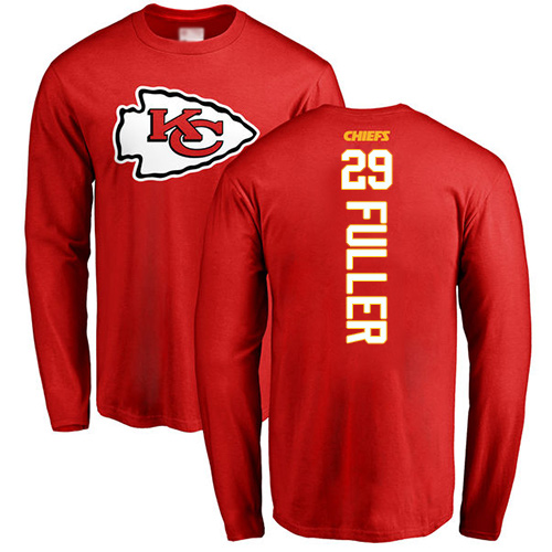 Men Kansas City Chiefs 29 Fuller Kendall Red Backer Long Sleeve T-Shirt