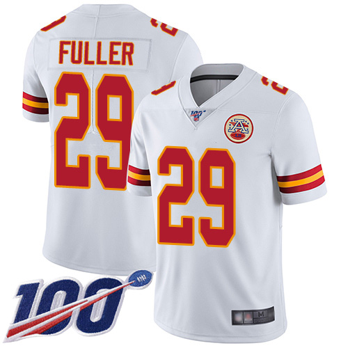 Men Kansas City Chiefs 29 Fuller Kendall White Vapor Untouchable Limited Player 100th Season Football Nike NFL Jersey