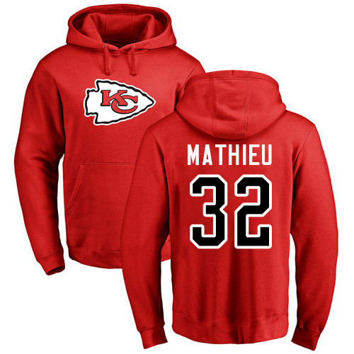 Men Kansas City Chiefs 32 Mathieu Tyrann Red Name and Number Logo Pullover Hoodie