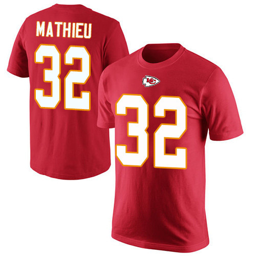 Men Kansas City Chiefs 32 Mathieu Tyrann Red Rush Pride Name and Number T-Shirt